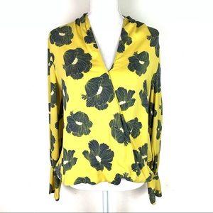 Halogen Yellow Silk Blend Floral Surplice Blouse M